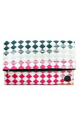 Leather & Rainbow Textile Oversize Clutch Bag