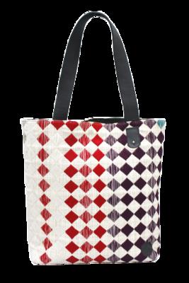 Royal Rhombus Textile & Leather Shoulder Bag