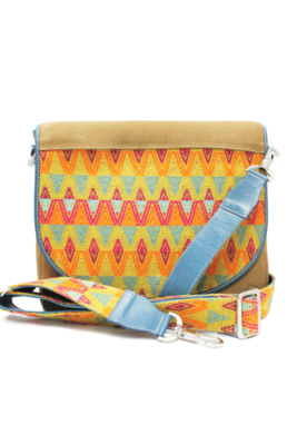 Suede, Leather, & Trópico Textile Shoulder Bag