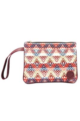 Leather & Peach Textile Wristlet Bag