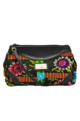 Hand Bag Black Textile Flower Spring