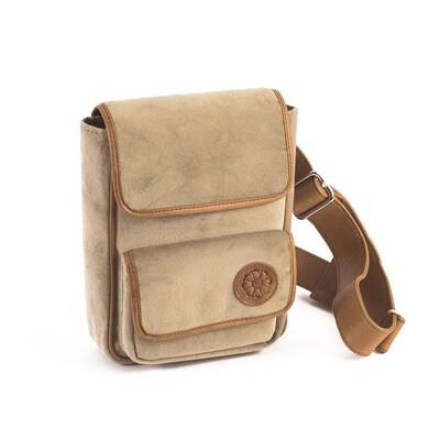 Beige Velvet Leather Waist Bag