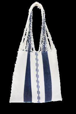 Blue-tinted Cotton Textile Boho Bag