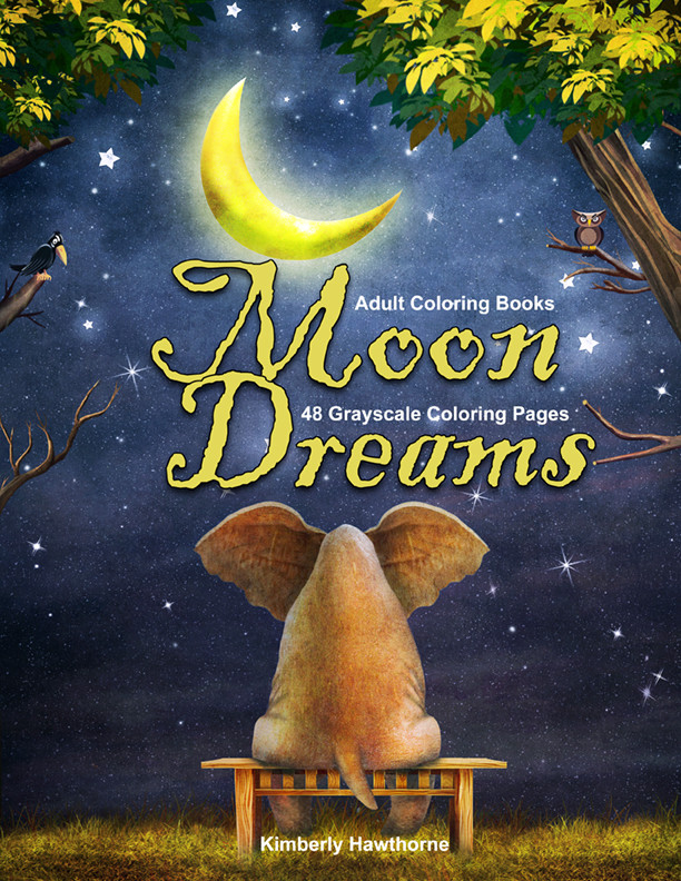 Moon Dreams Adult Coloring Book PDF Digital Download
