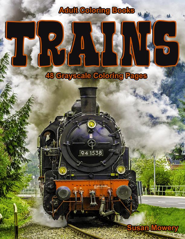 Trains Adult Coloring Book PDF Digital Download