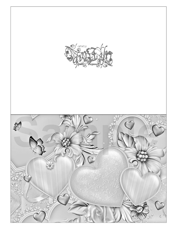 Valentine Coloring Greeting Card #V3 Digital Printout