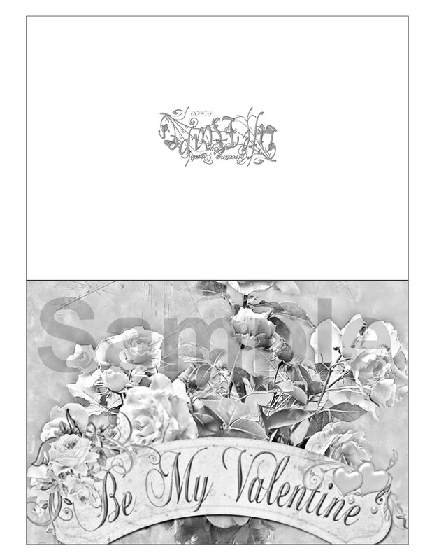 Valentine Coloring Greeting Card #V1 Digital Printout