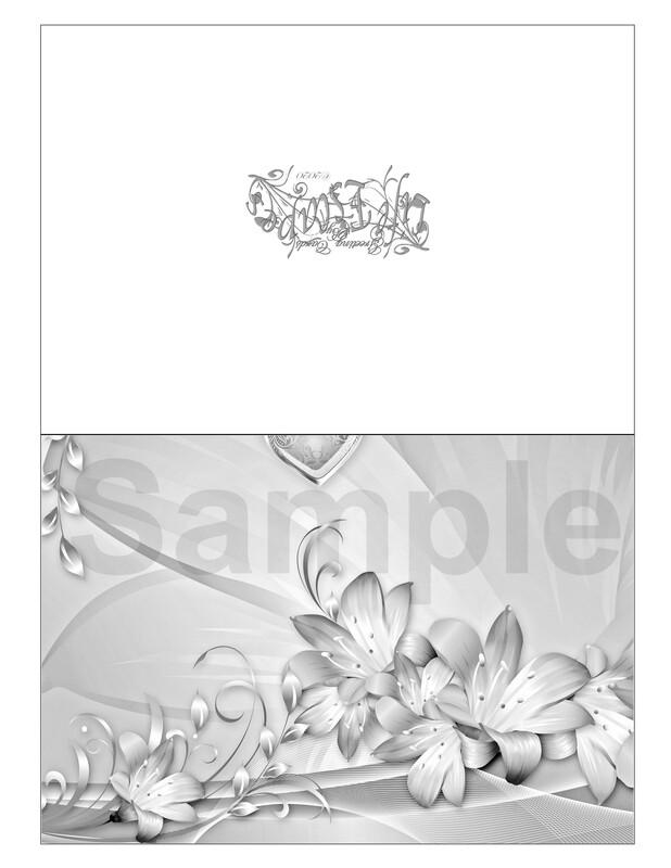 Valentine Coloring Greeting Card #V4 Digital Printout