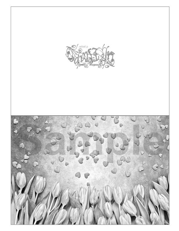 Valentine Coloring Greeting Card #V5 Digital Printout