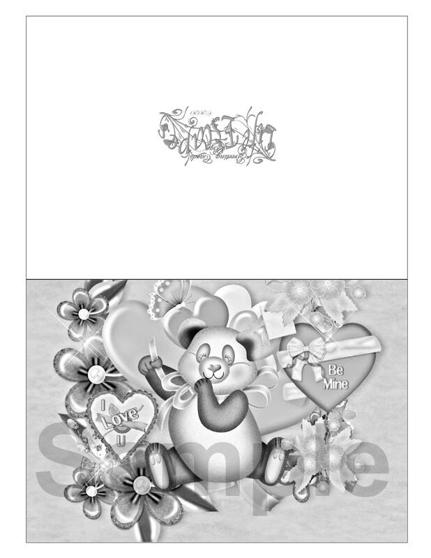 Valentine Coloring Greeting Card #V6 Digital Printout