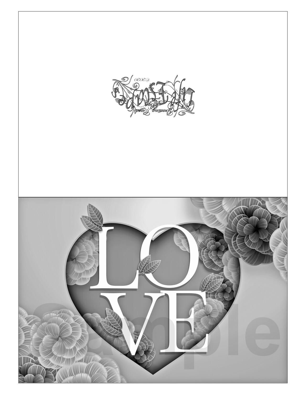 Valentine Coloring Greeting Card #V9 Digital Printout