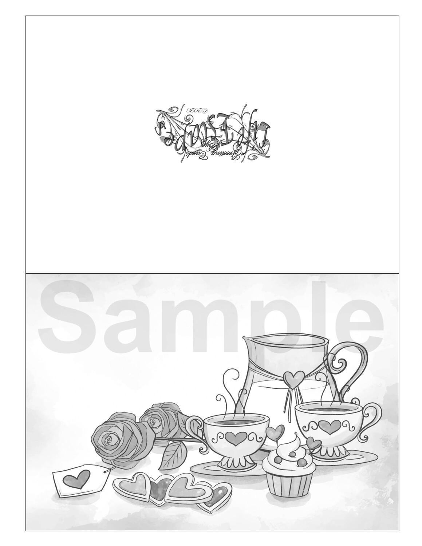 Valentine Coloring Greeting Card #V10 Digital Printout
