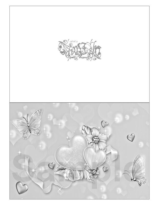 Valentine Coloring Greeting Card #V8 Digital Printout