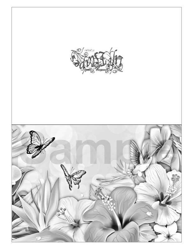 Any Time Coloring Greeting Card #G6 Digital Printout