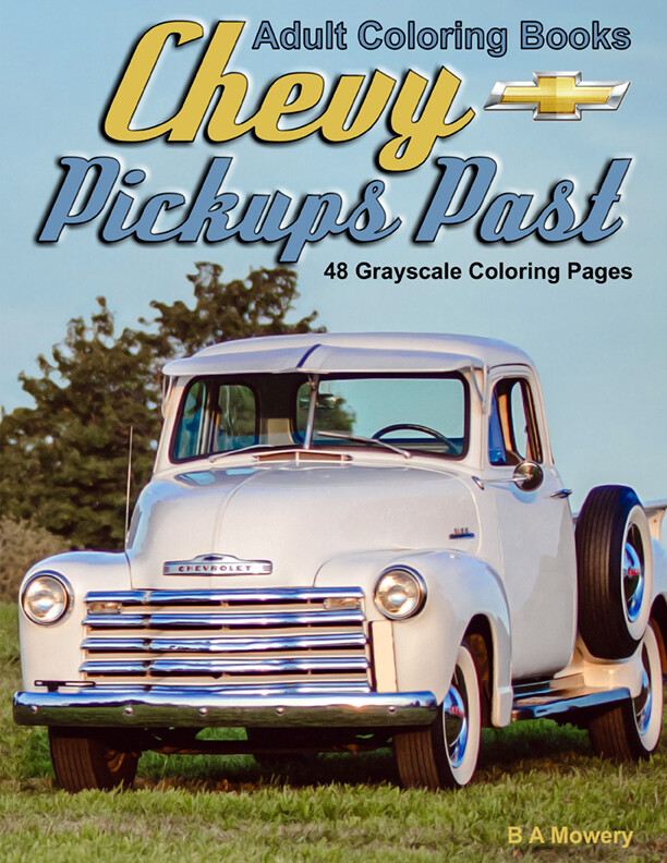 Chevy Pickups Past Grayscale Coloring Book for Adults PDF Digital Download
