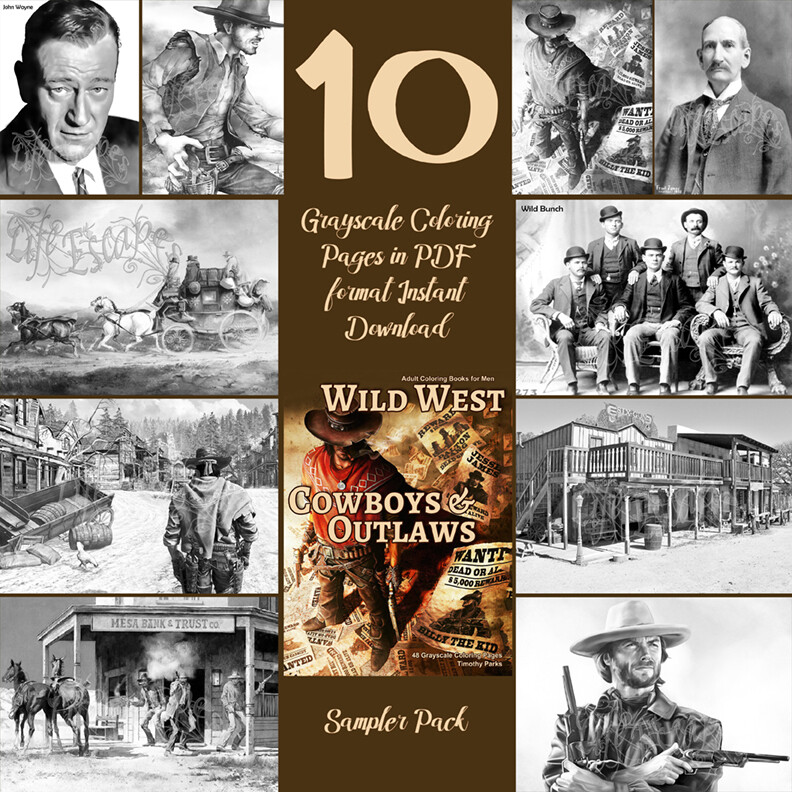 Wild West Cowboys & Outlaws sampler pack PDF digital download