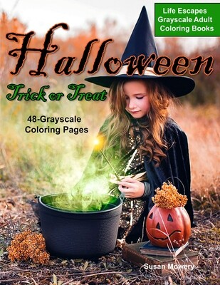 Halloween Trick or Treat Coloring Book for Adults PDF Digital Download