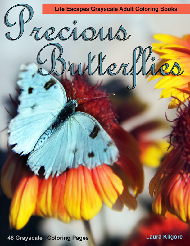 Precious Butterflies Grayscale Adult Coloring Book PDF Digital Download