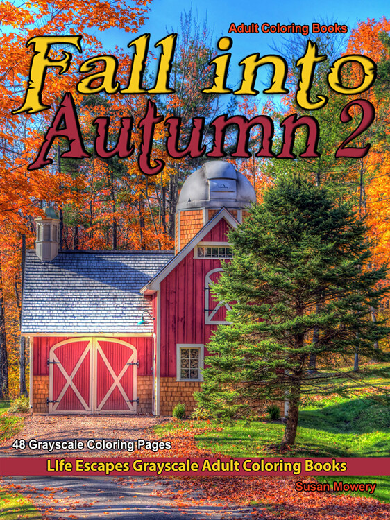 Fall into Autumn 2 Grayscale Adult Coloring Book PDF