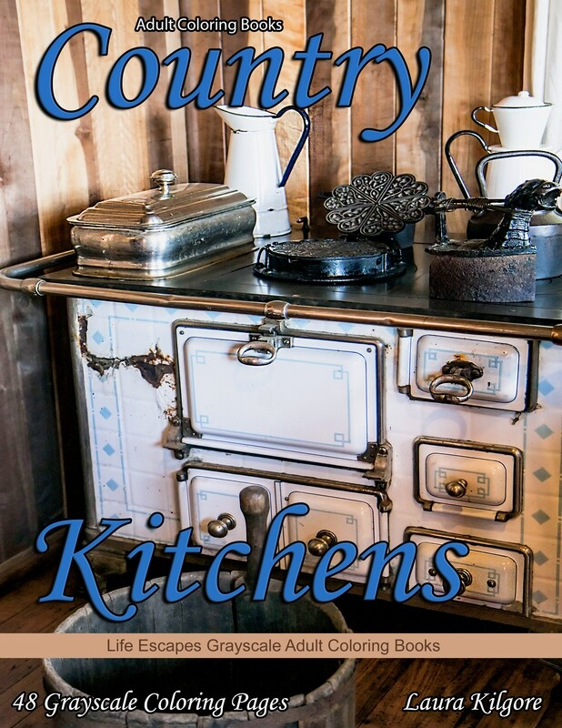 Country Kitchens Grayscale Adult Coloring Book PDF