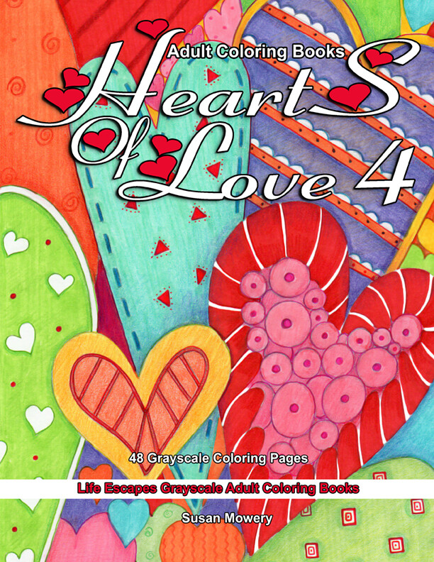 Hearts of Love 4 Grayscale Adult Coloring Book PDF