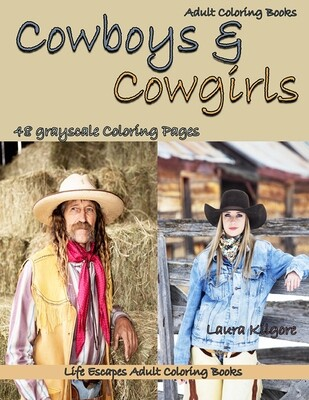 Cowboys & Cowgirls Grayscale Adult Coloring Book PDF