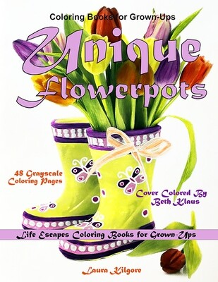 Unique Flowerpots Coloring eBook for Grown-Ups PDF