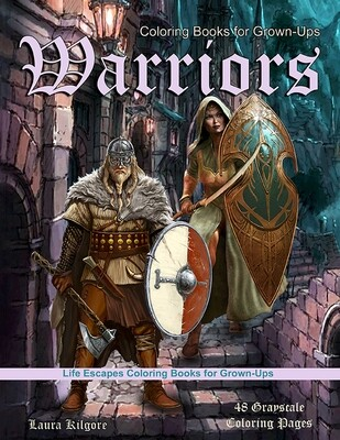 Warriors Grayscale Coloring eBook for Grown-Ups PDF Digital Download