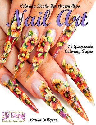 Nail Art Grayscale Coloring Book PDF