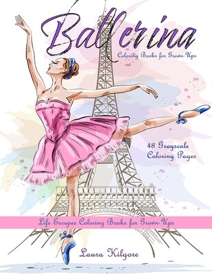 Ballerina Grayscale Coloring Books for Grown-Ups PDF