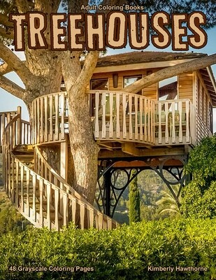 Treehouses Grayscale Adult Coloring Book PDF