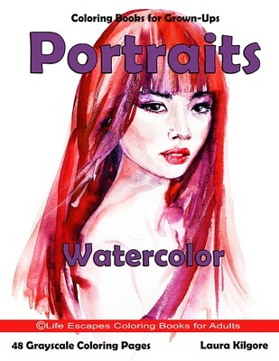 Portraits Watercolor Grayscale Adult Coloring Book PDF