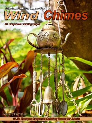 Wind Chimes Grayscale Adult Coloring Book PDF