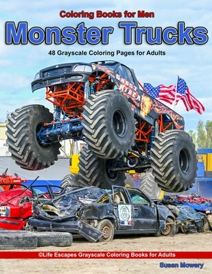 Monster Trucks Grayscale Adult Coloring Book PDF