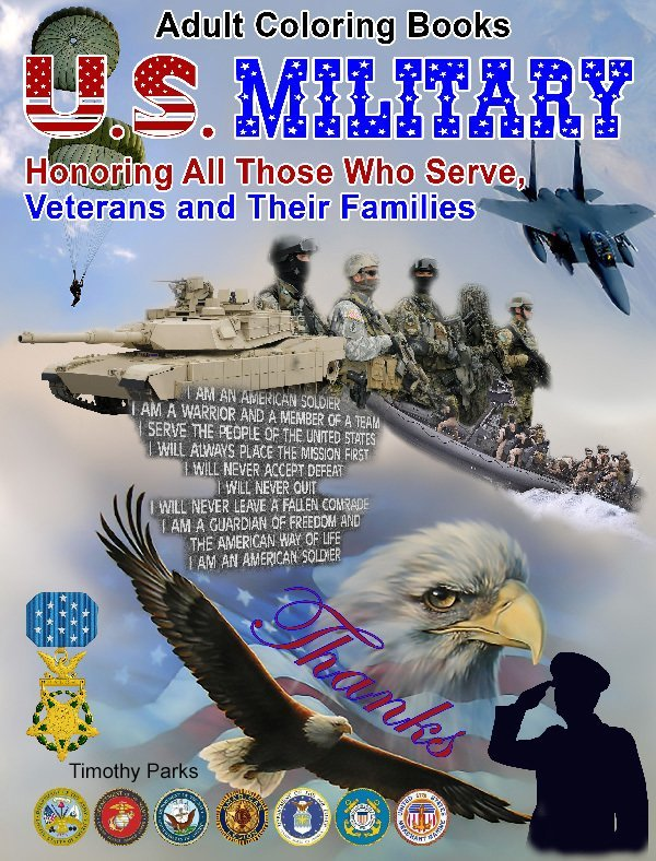 U.S. Military Coloring Book for Adults Digital Download