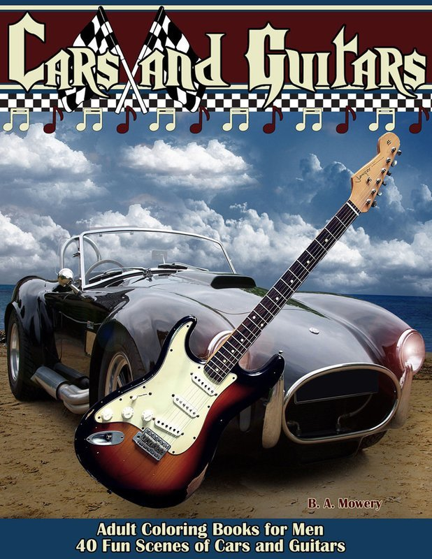 Cars and Guitars Coloring Book for Men Digital Download