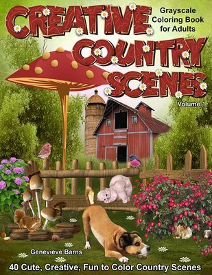Creative Country Scenes Coloring Book for Adults Digital Download