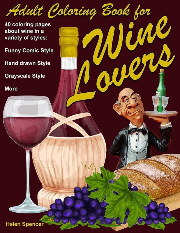 Wine Lovers Coloring Book for Adults Digital Download
