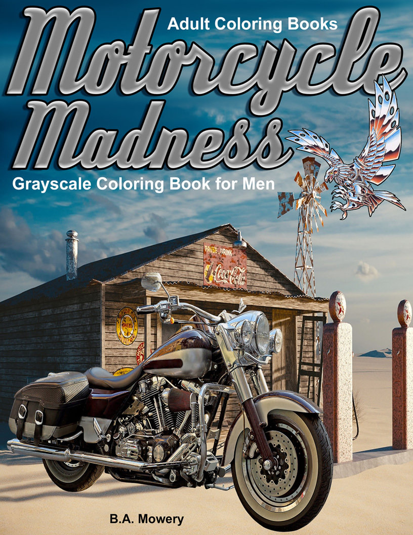 Motorcycle Madness Coloring Book for Adults Digital Download