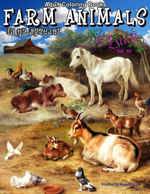 50 Farm Animals Coloring Book for Adults Digital Download