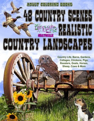 48 Country Scenes Coloring Book for Adults Digital Download