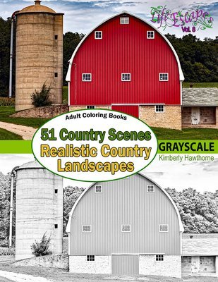 51 Country Scenes Coloring Book for Adults Digital Download