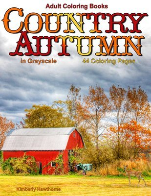 Country Autumn Coloring Book for Adults Digital Download