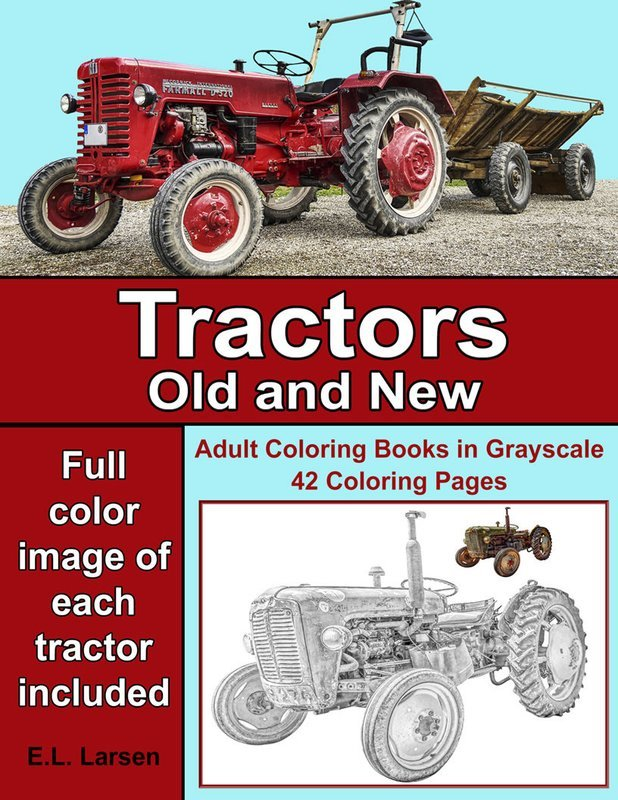 Tractors Old & New Coloring Book for Adults Digital Download