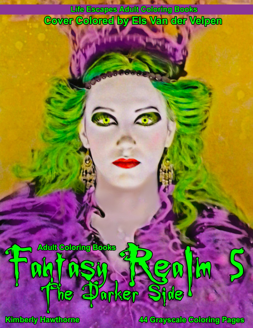 Fantasy Realm 5 the Darker Side Adult Coloring Book Digital Download