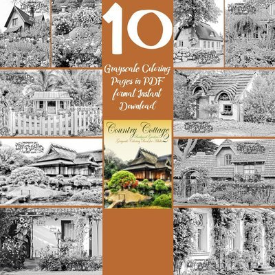 Country Cottage Backyard Gardens 2 Sampler Pack 10 Coloring Pages Digital Download