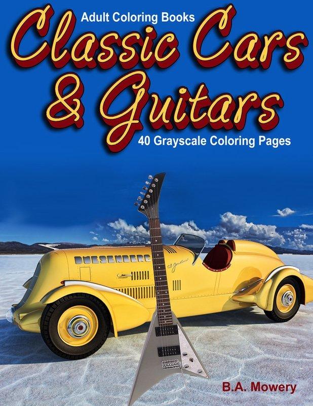 Classic Cars & Guitars Adult Coloring Digital Download
