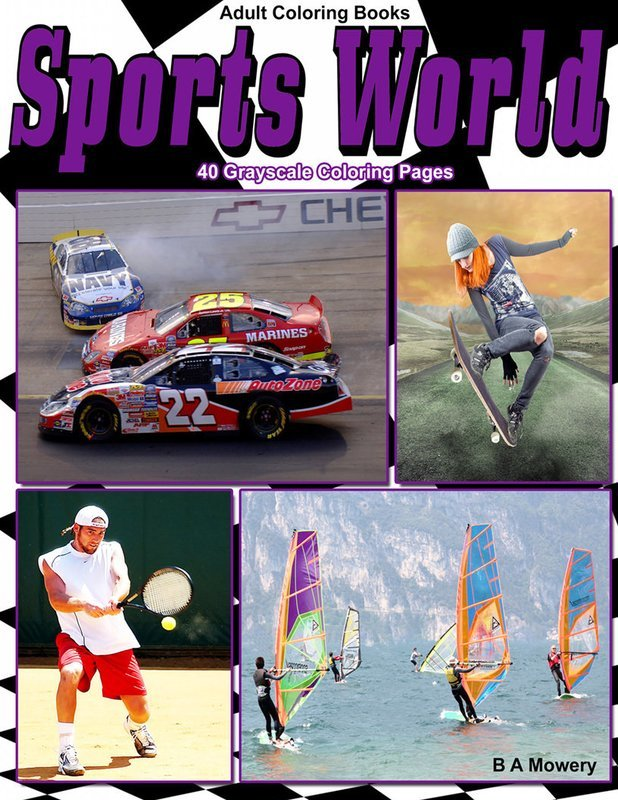 Sports World Adult Coloring Book Digital Download