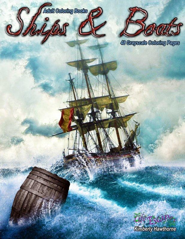 Ships & Boats Adult Coloring Book Digital Download