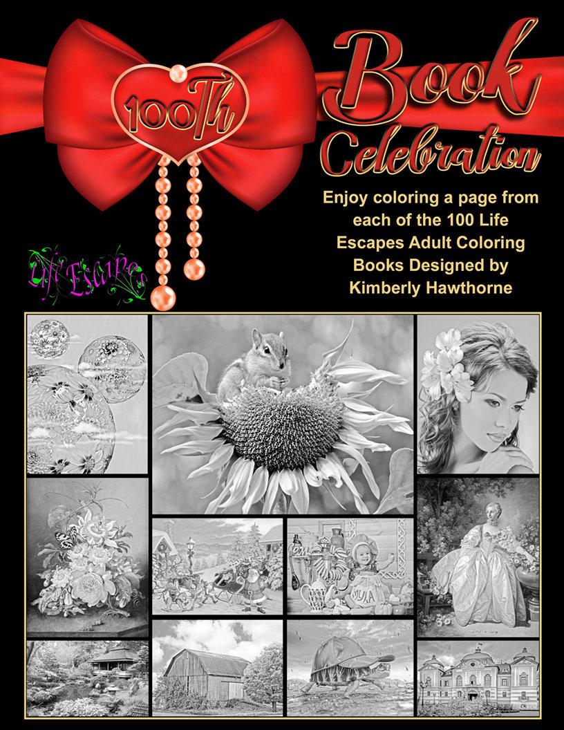 100th Book Celebration Adult Coloring Book Digital Download